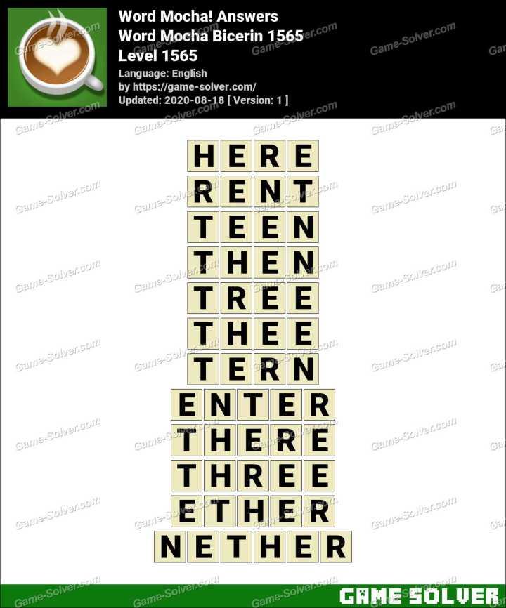 Word Mocha Bicerin 1565 Answers
