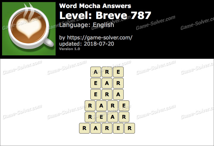 Word Mocha Breve 787 Answers