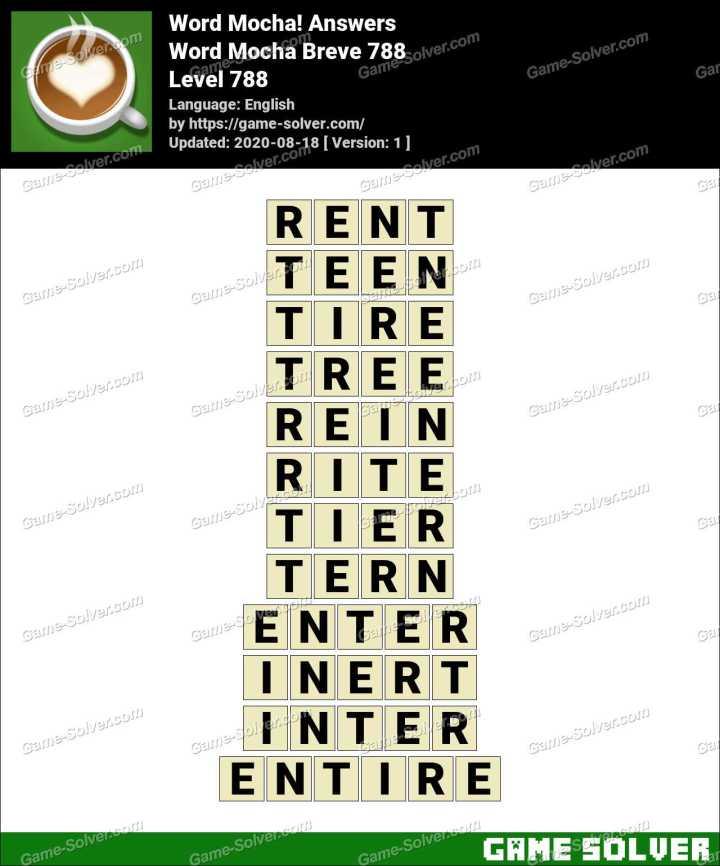 Word Mocha Breve 788 Answers