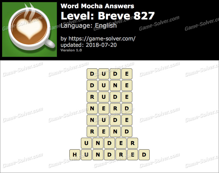 Word Mocha Breve 827 Answers