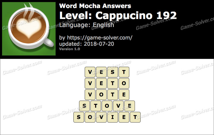 Word Mocha Cappucino 192 Answers