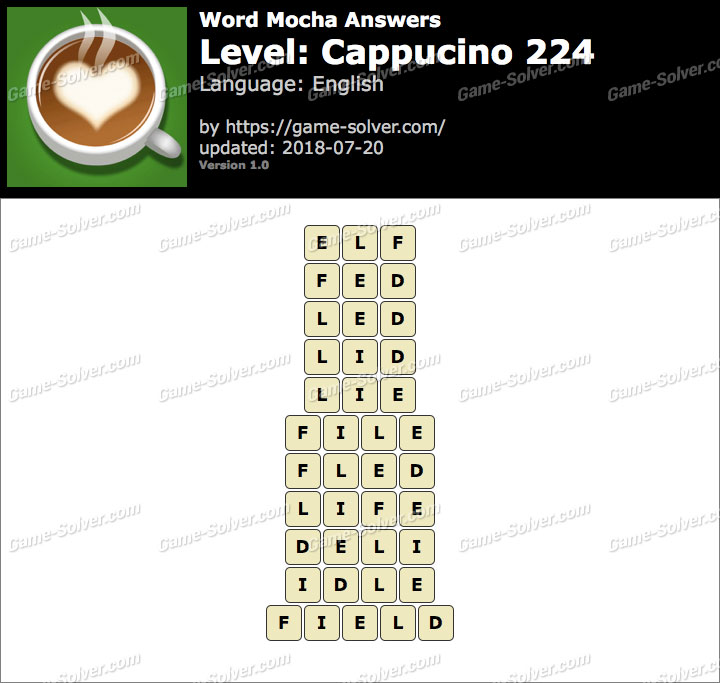 Word Mocha Cappucino 224 Answers