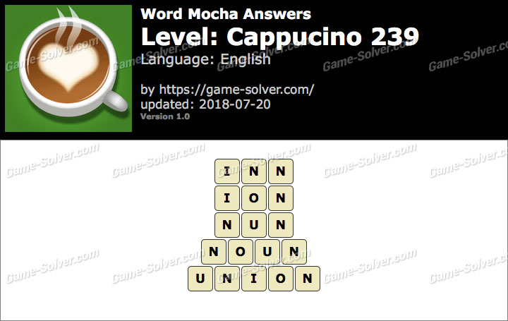 Word Mocha Cappucino 239 Answers