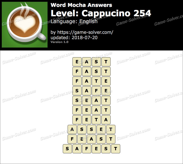 Word Mocha Cappucino 254 Answers