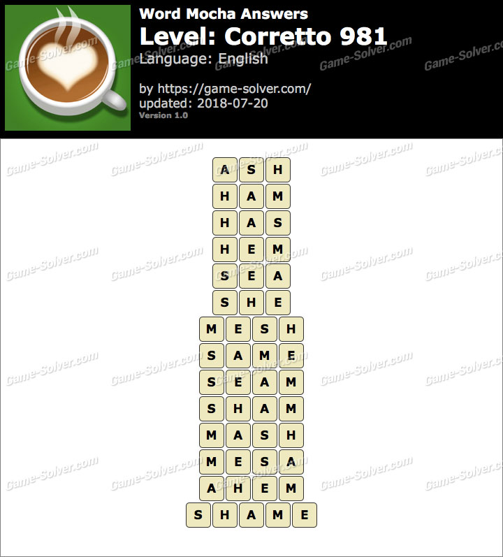 Word Mocha Corretto 981 Answers