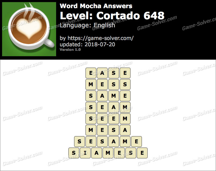 Word Mocha Cortado 648 Answers