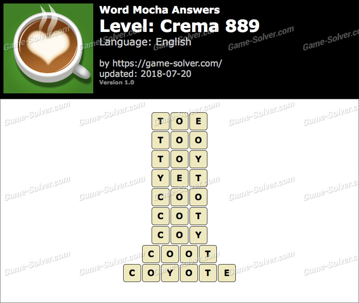 Word Mocha Crema 889 Answers