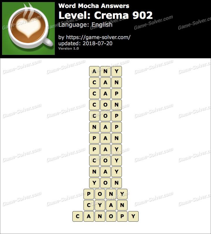 Word Mocha Crema 902 Answers