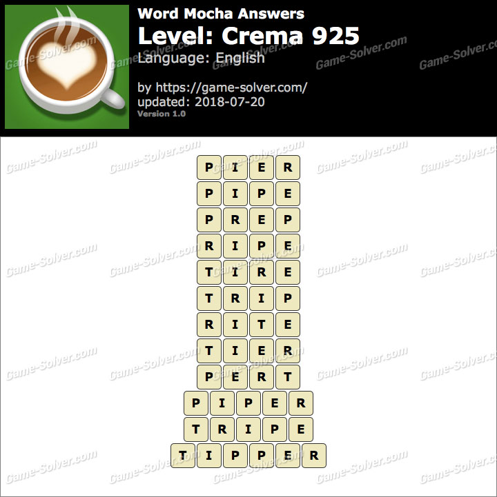 Word Mocha Crema 925 Answers