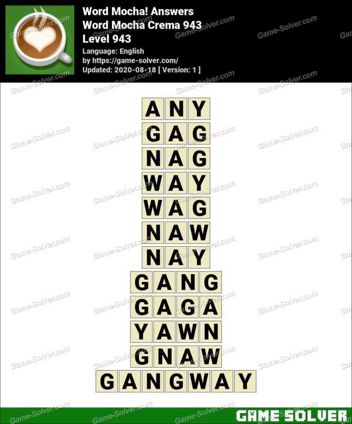 Word Mocha Crema 943 Answers