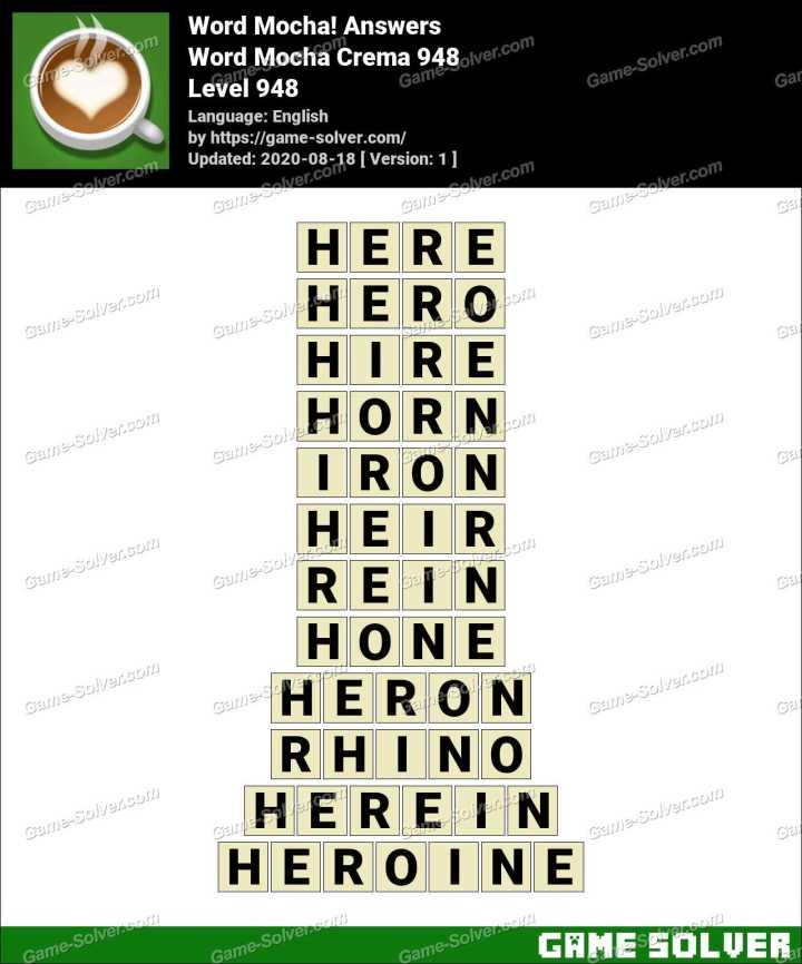 Word Mocha Crema 948 Answers