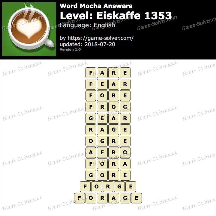 Word Mocha Eiskaffe 1353 Answers