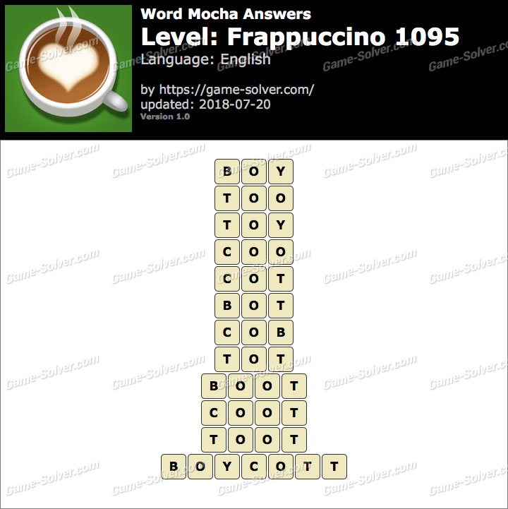 Word Mocha Frappuccino 1095 Answers