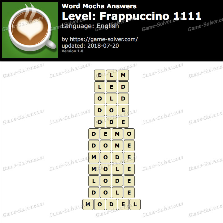 Word Mocha Frappuccino 1111 Answers