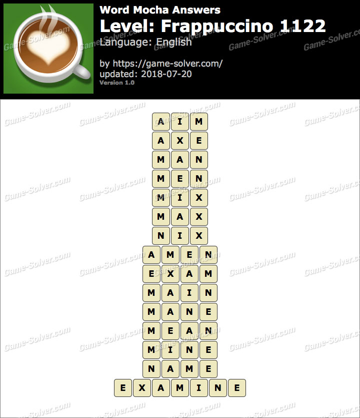 Word Mocha Frappuccino 1122 Answers