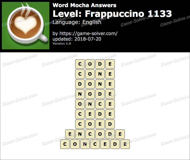 Word Mocha Frappuccino 1133 Answers