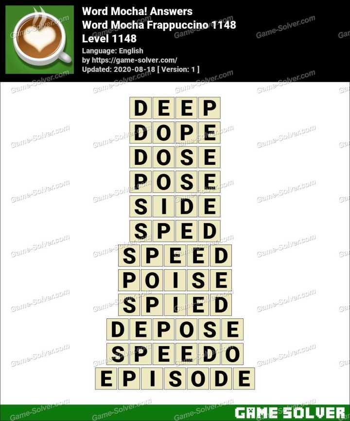 Word Mocha Frappuccino 1148 Answers