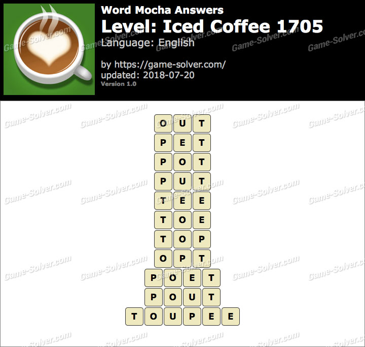 Word Mocha Iced Coffee 1705 Answers