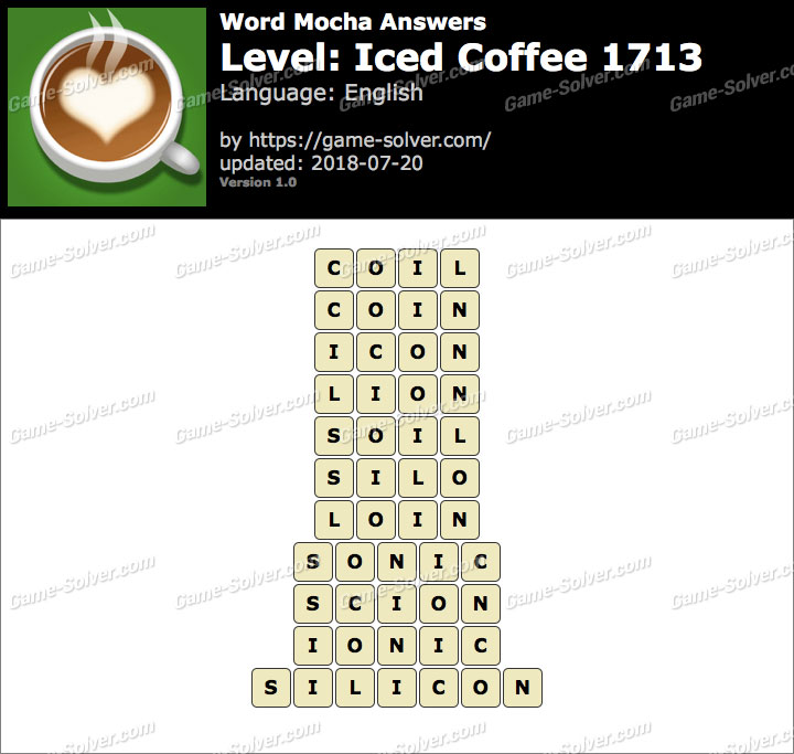 Word Mocha Iced Coffee 1713 Answers