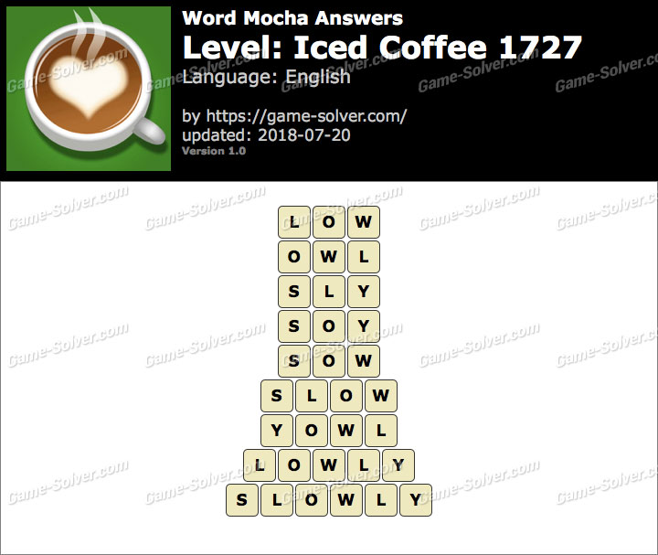 Word Mocha Iced Coffee 1727 Answers