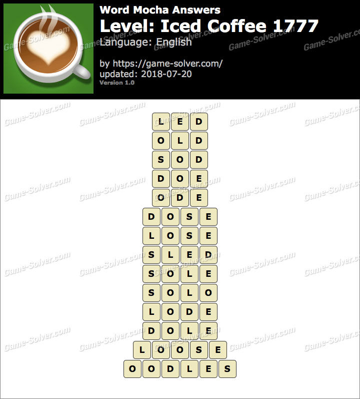 Word Mocha Iced Coffee 1777 Answers