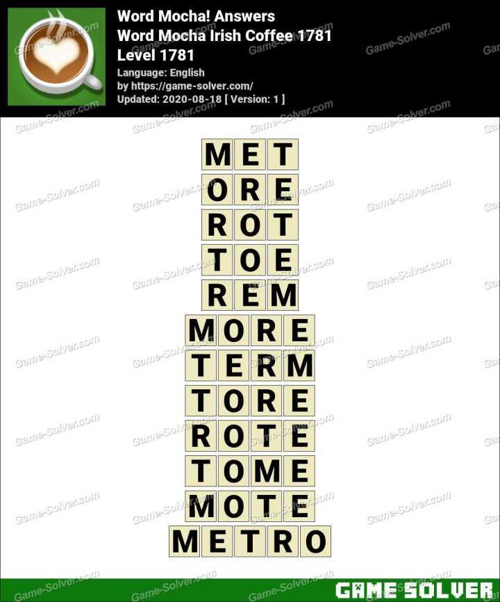 Word Mocha Irish Coffee 1781 Answers