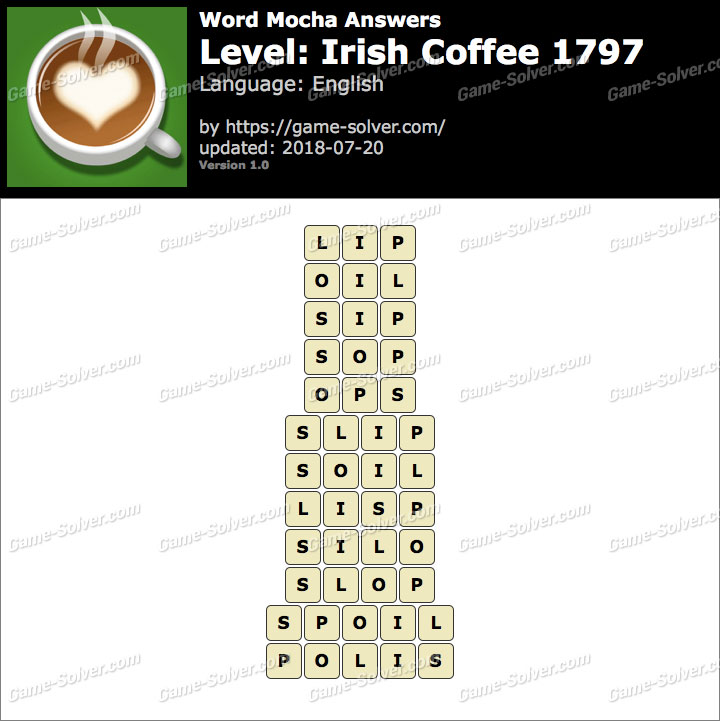 Word Mocha Irish Coffee 1797 Answers