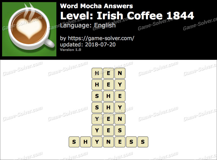 Word Mocha Irish Coffee 1844 Answers