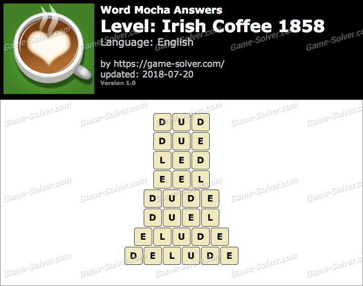 Word Mocha Irish Coffee 1858 Answers