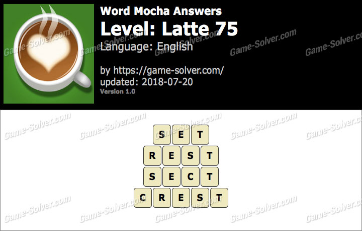 Word Mocha Latte 75 Answers