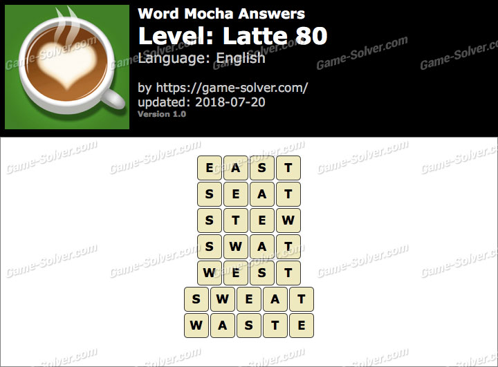 Word Mocha Latte 80 Answers