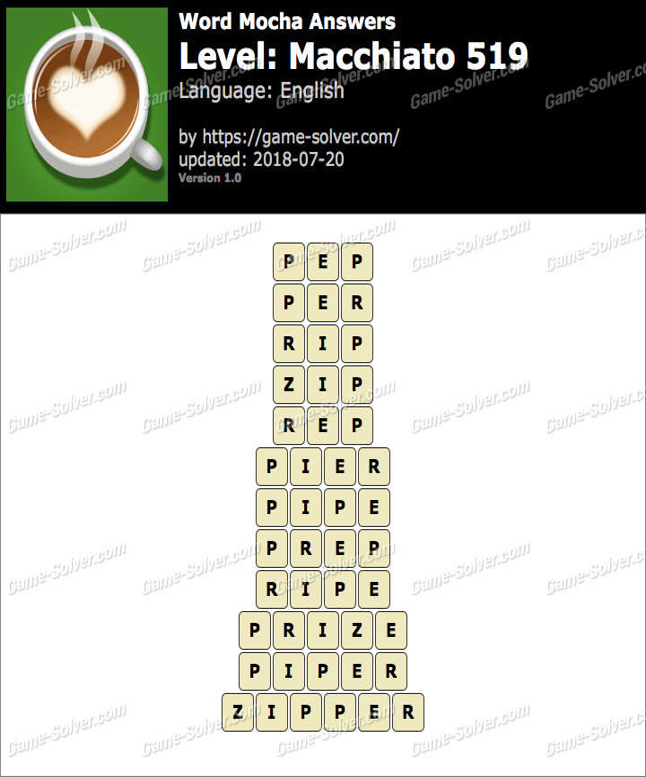 Word Mocha Macchiato 519 Answers