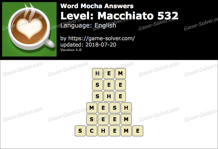 Word Mocha Macchiato 532 Answers
