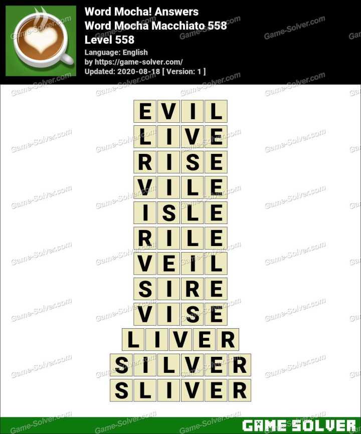Word Mocha Macchiato 558 Answers