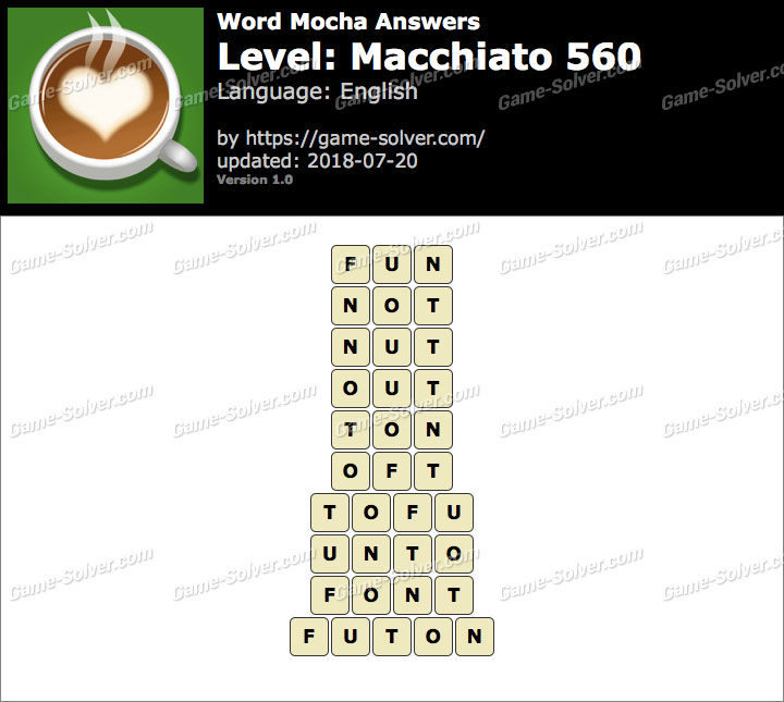 Word Mocha Macchiato 560 Answers