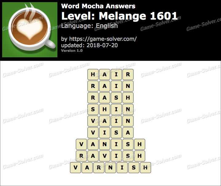 Word Mocha Melange 1601 Answers