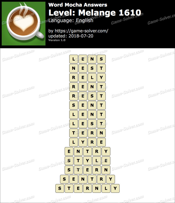 Word Mocha Melange 1610 Answers