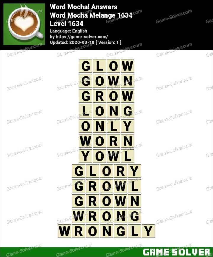 Word Mocha Melange 1634 Answers