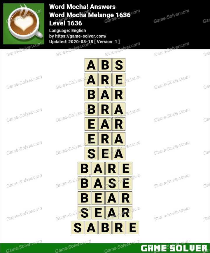 Word Mocha Melange 1636 Answers