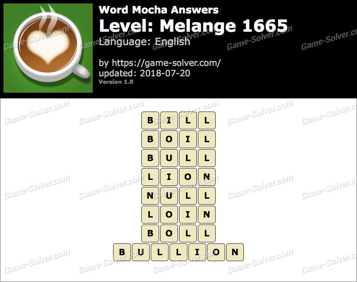 Word Mocha Melange 1665 Answers