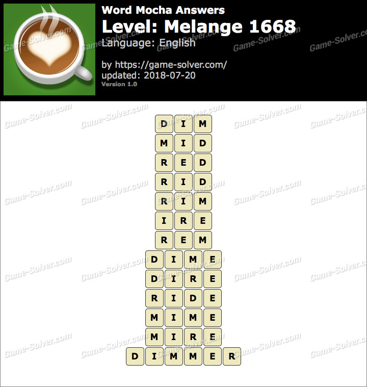 Word Mocha Melange 1668 Answers