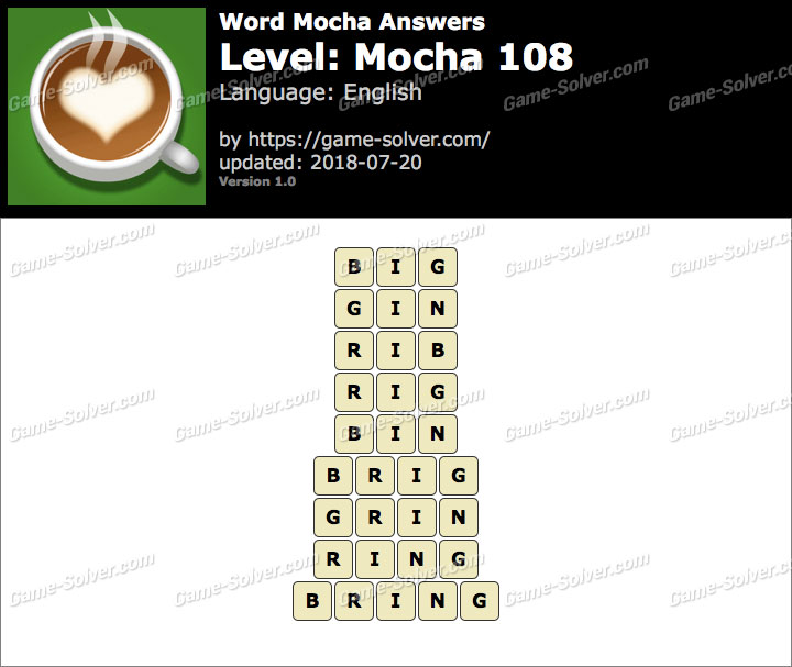 Word Mocha Mocha 108 Answers