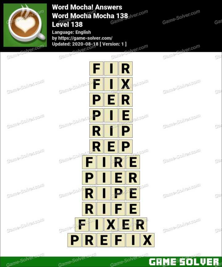 Word Mocha Mocha 138 Answers