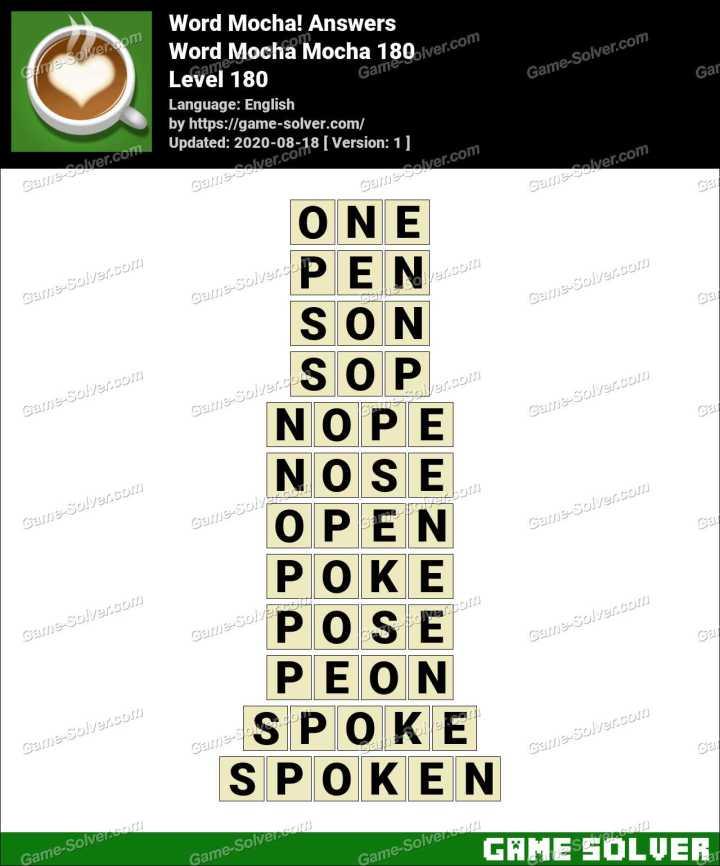 Word Mocha Mocha 180 Answers