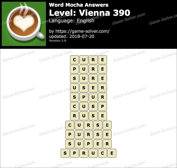 Word Mocha Vienna 390 Answers