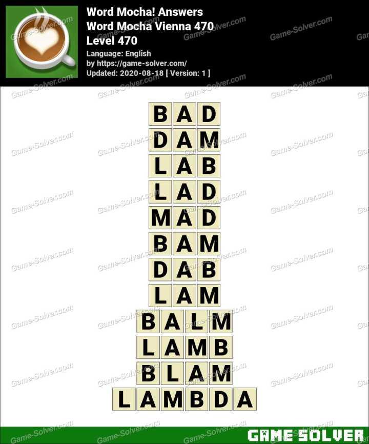 Word Mocha Vienna 470 Answers