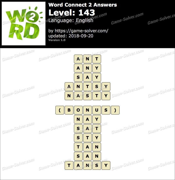 Word Connect 2 Level 143 Answers