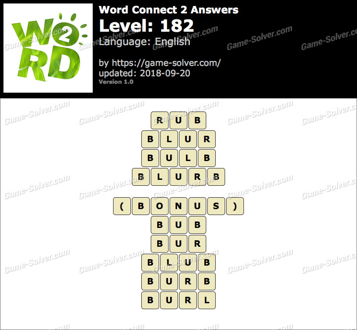 Word Connect 2 Level 182 Answers