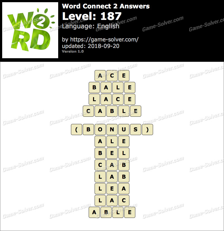 Word Connect 2 Level 187 Answers