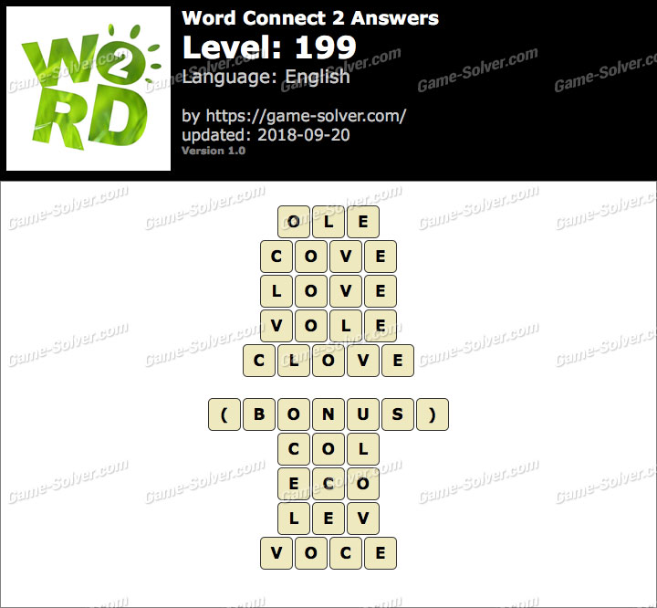Word Connect 2 Level 199 Answers